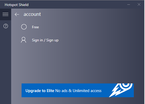 Hotspot Shield Screenshot for Windows10