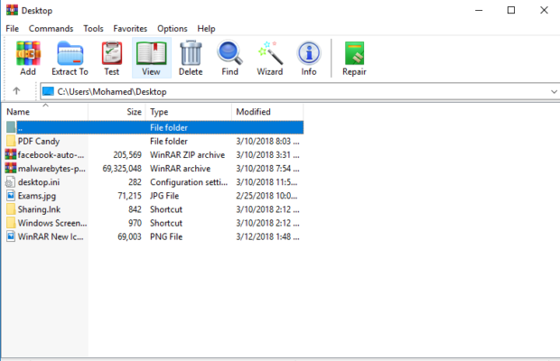 WinRAR Screenshot for Windows10