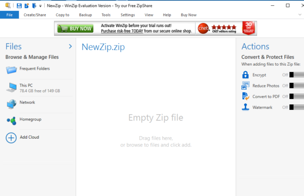 WinZip Screenshot for Windows10