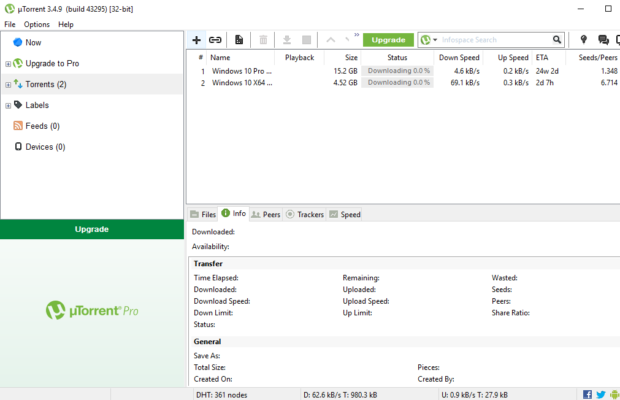 µTorrent Screenshot for Windows10