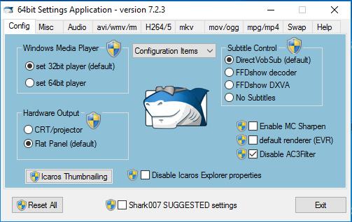 Shark007 Codecs Screenshot for Windows10