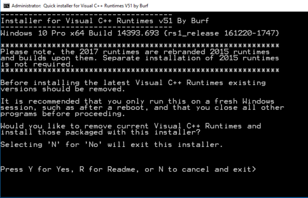 Visual C++ Runtime AIO (All in One) Screenshot for Windows10