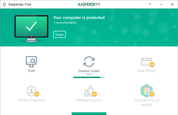 Kaspersky Free Antivirus Screenshot for Windows10
