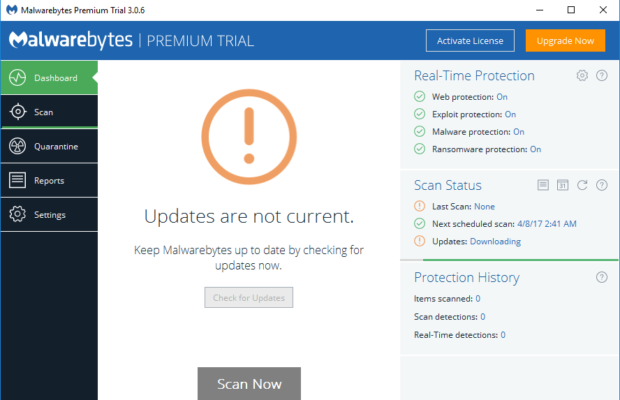 Malwarebytes Screenshot for Windows10
