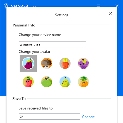 SHAREit Screenshot for Windows10