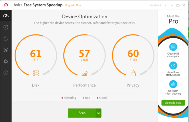 Avira System Speedup Screenshot for Windows10