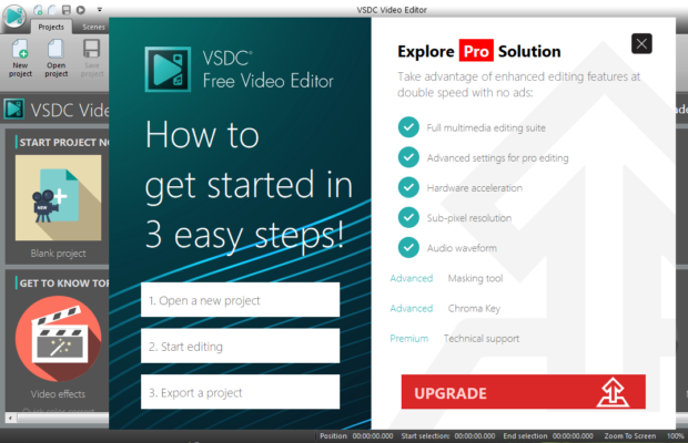 VSDC Free Video Editor Screenshot for Windows10