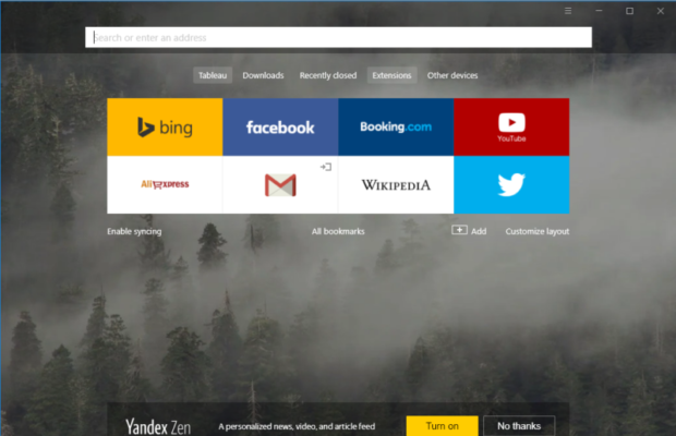 Yandex Browser Screenshot for Windows10