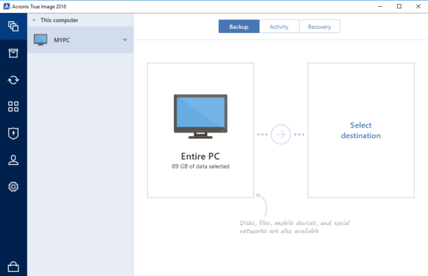 Acronis True Image Screenshot for Windows10