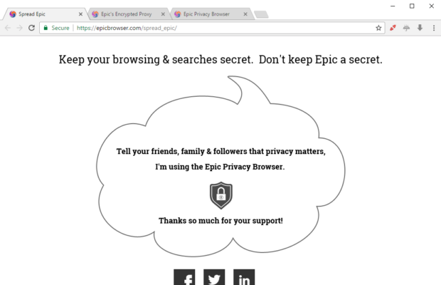 Epic Privacy Browser Screenshot for Windows11