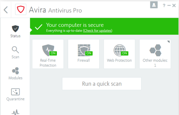 Avira Internet Security Suite Screenshot for Windows10