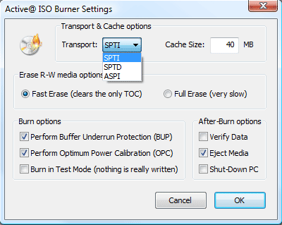 Active@ ISO Burner Screenshot for Windows10