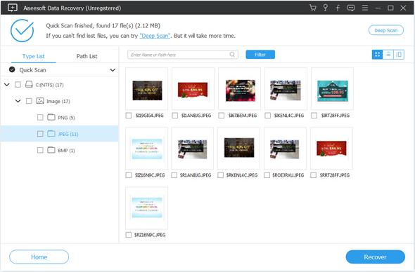 Aiseesoft Data Recovery Screenshot for Windows10
