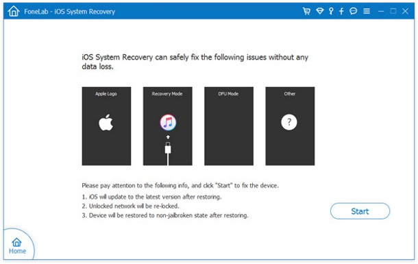 Aiseesoft iOS System Recovery Screenshot for Windows10
