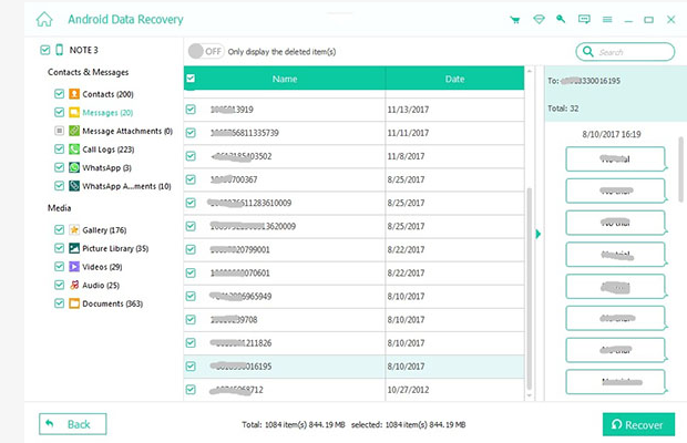 Apeaksoft Android Data Recovery Screenshot for Windows10