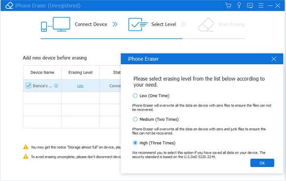Apeaksoft iPhone Eraser Screenshot for Windows10