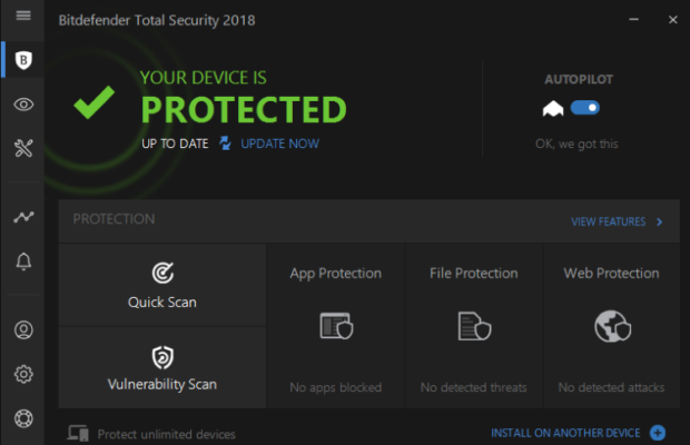 Bitdefender Internet Security Screenshot for Windows10