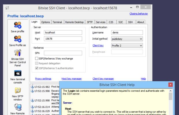Bitvise SSH Client Screenshot for Windows10