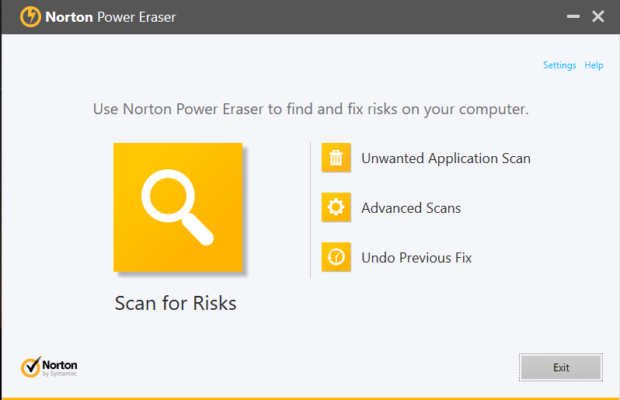 Norton Power Eraser Screenshot for Windows10