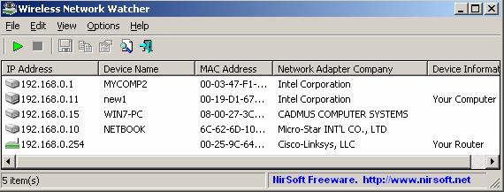Wireless Network Watcher Screenshot for Windows10