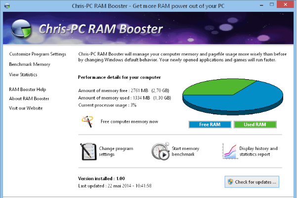 Chris-PC RAM Booster Screenshot for Windows10