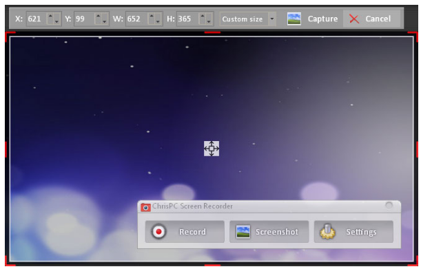 ChrisPC Screen Recorder Screenshot for Windows10