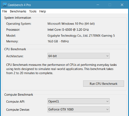 Geekbench Screenshot for Windows10