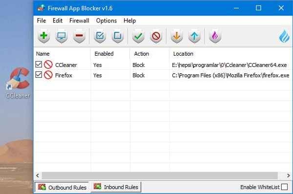 Firewall App Blocker Screenshot for Windows10