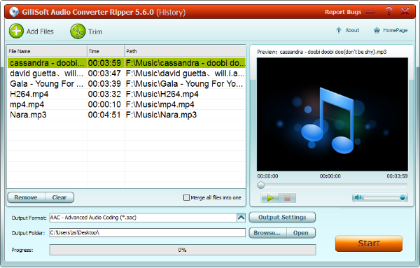 GiliSoft Audio Converter Ripper Screenshot for Windows10