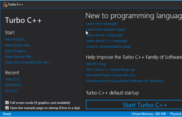 Turbo C++ Screenshot for Windows10