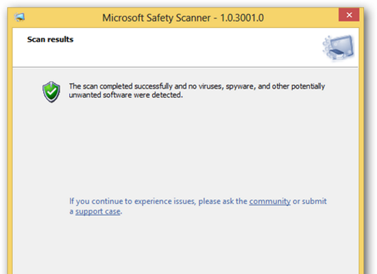 Microsoft Safety Scanner Screenshot for Windows10