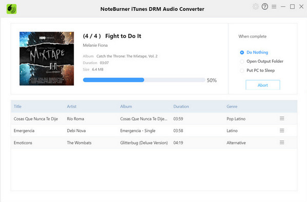 NoteBurner iTunes DRM Audio Converter Screenshot for Windows10