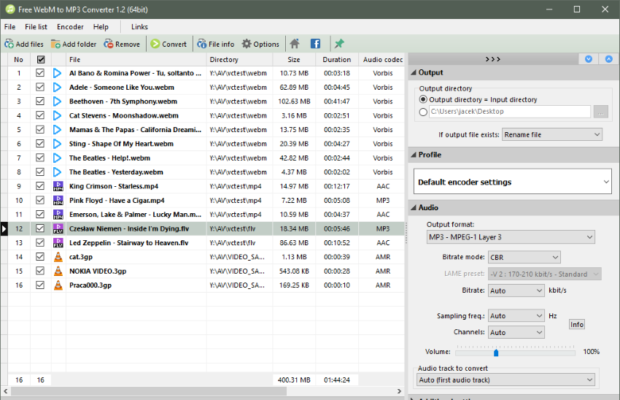 Pazera Free WebM to MP3 Converter Screenshot for Windows10