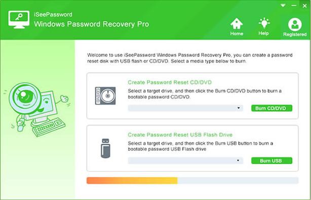 iSeePassword Windows Password Recovery Screenshot for Windows10