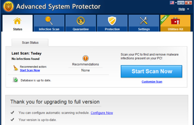 Advanced System Protector Screenshot for Windows10