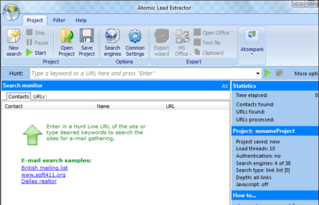Atomic Lead Extractor Screenshot for Windows10