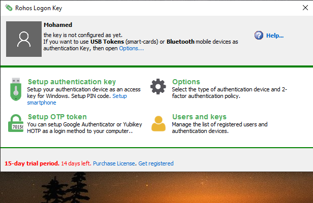 Rohos Logon Key Screenshot for Windows10